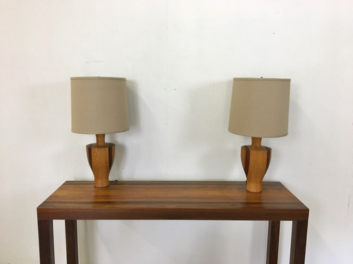 Pair of Mid Century Wood Table Lamps