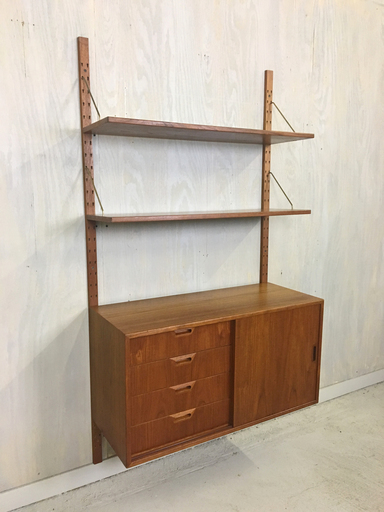 Teak WallMounted Cado Cabinet and Shelving Boston