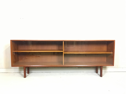 Danish Modern Teak Shelving with Sliding Glass Doors