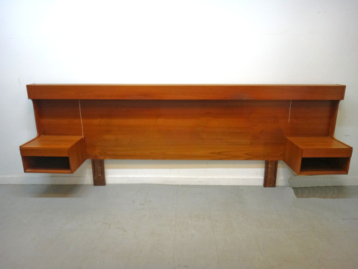Danish Modern Teak King Headboard with Floating Nightstands