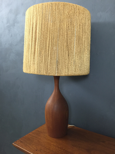 Mid Century Danish Modern Teak Sculpted Table Lamp