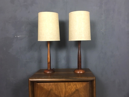Pair Mid Century Danish Modern Teak Table Lamps