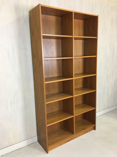 Danish Modern Tall Teak Bookshelf with adjustable shelves
