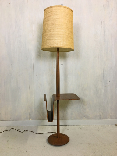 Mid Century Teak Laurel Floor Lamp with Side Table and Magazine Holder