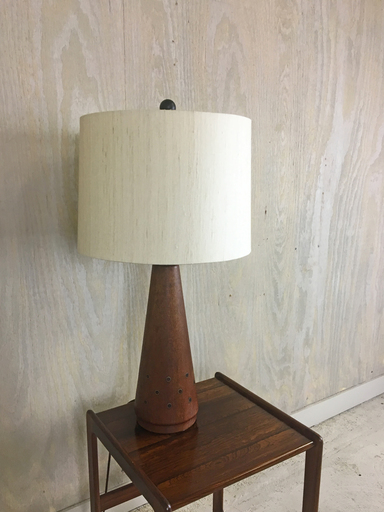 1960s Teak Table Lamp with Brass Inset Decoration