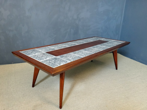 Mid Century Coffee Table with Aztec Tiles