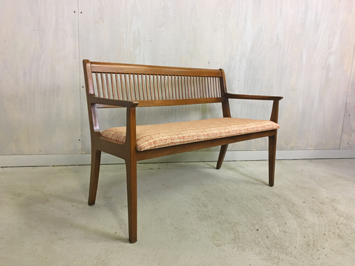 Atomic Style Walnut Upholstered Bench