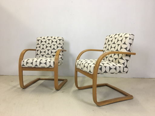 Pair of Upholstered Bentwood Accent Chairs
