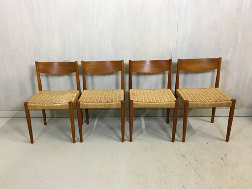Poul Volther Danish Modern Danish Cord and Teak Chairs