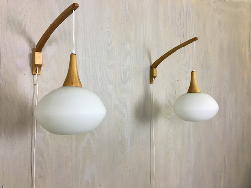 Mid Century Wood and Glass Wall Lights