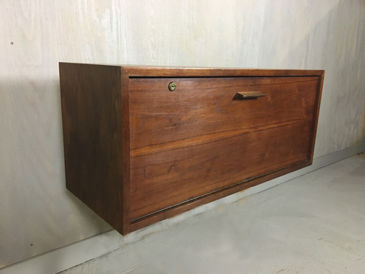 Teak Danish Modern Wall Mounted Secretary