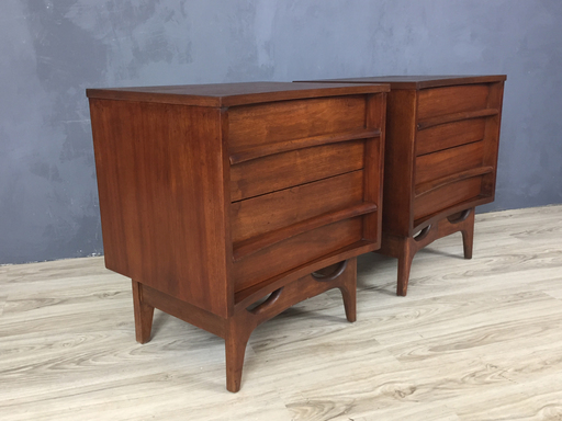 Pair Mid Century Walnut Besie Tables Boston