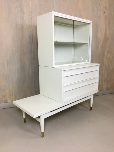 Mid Century Modern Three Piece Modular Display Cabinet with Drawers Boston