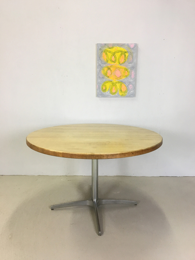 Round Maple Dining Table with Chrome Base for Workbench