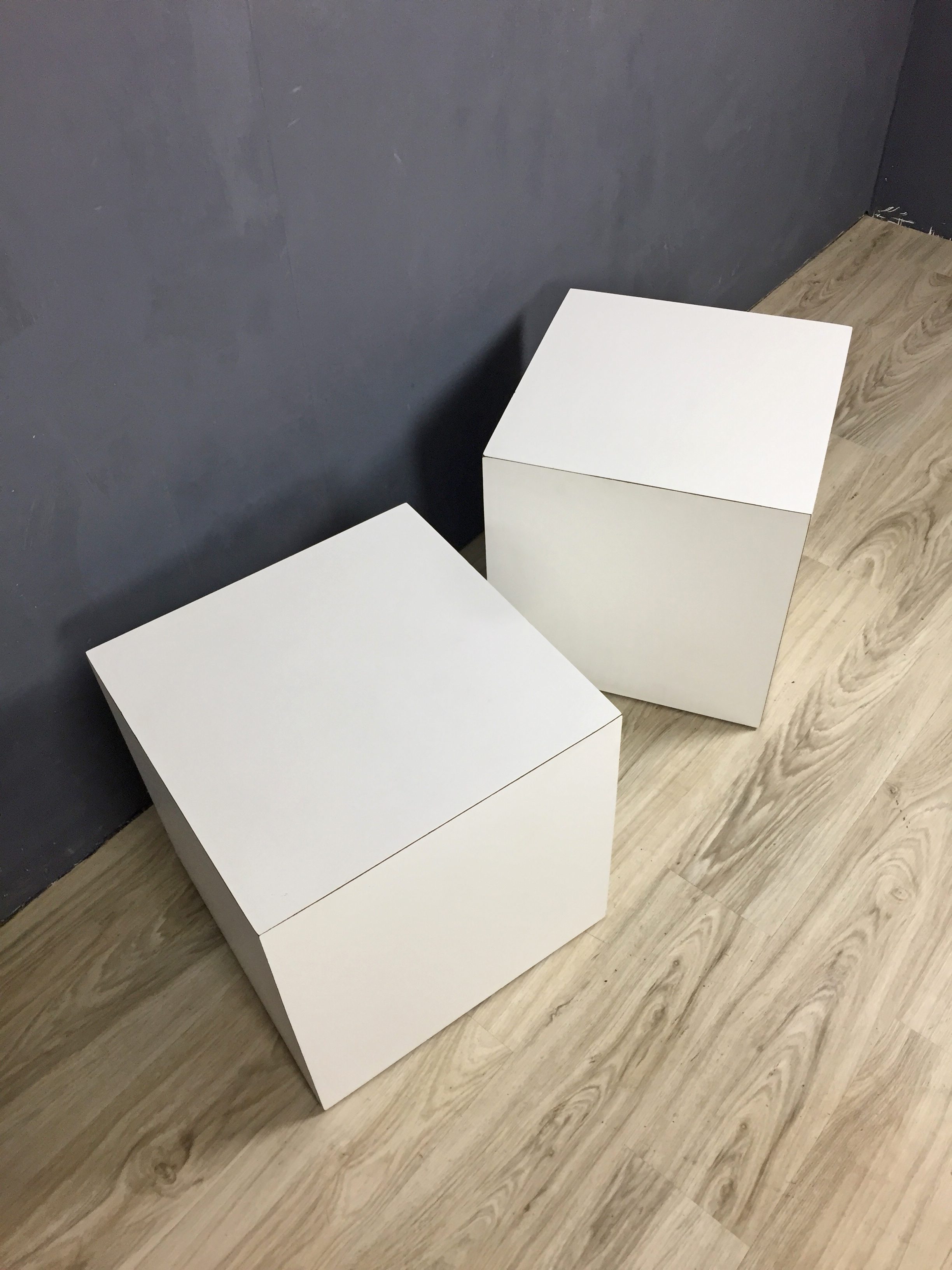 Modernist White Cube Side Tables