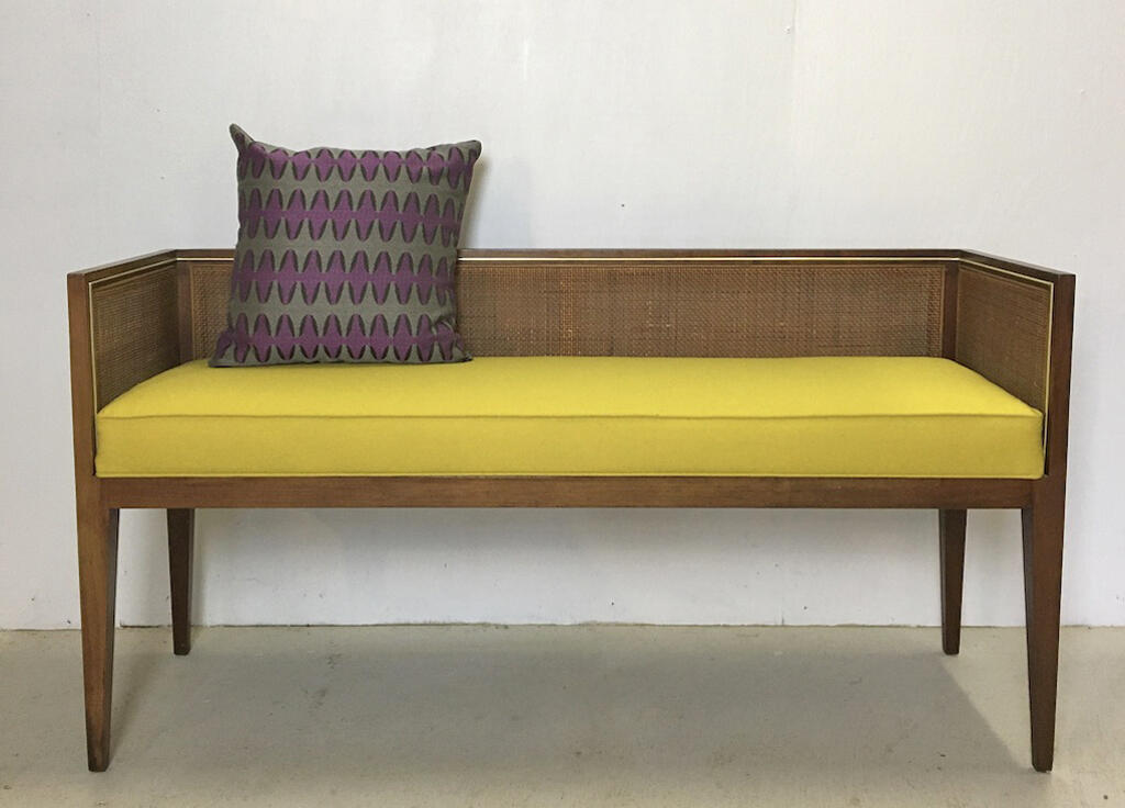 Hollywood Regency Upholstered Cane Bench