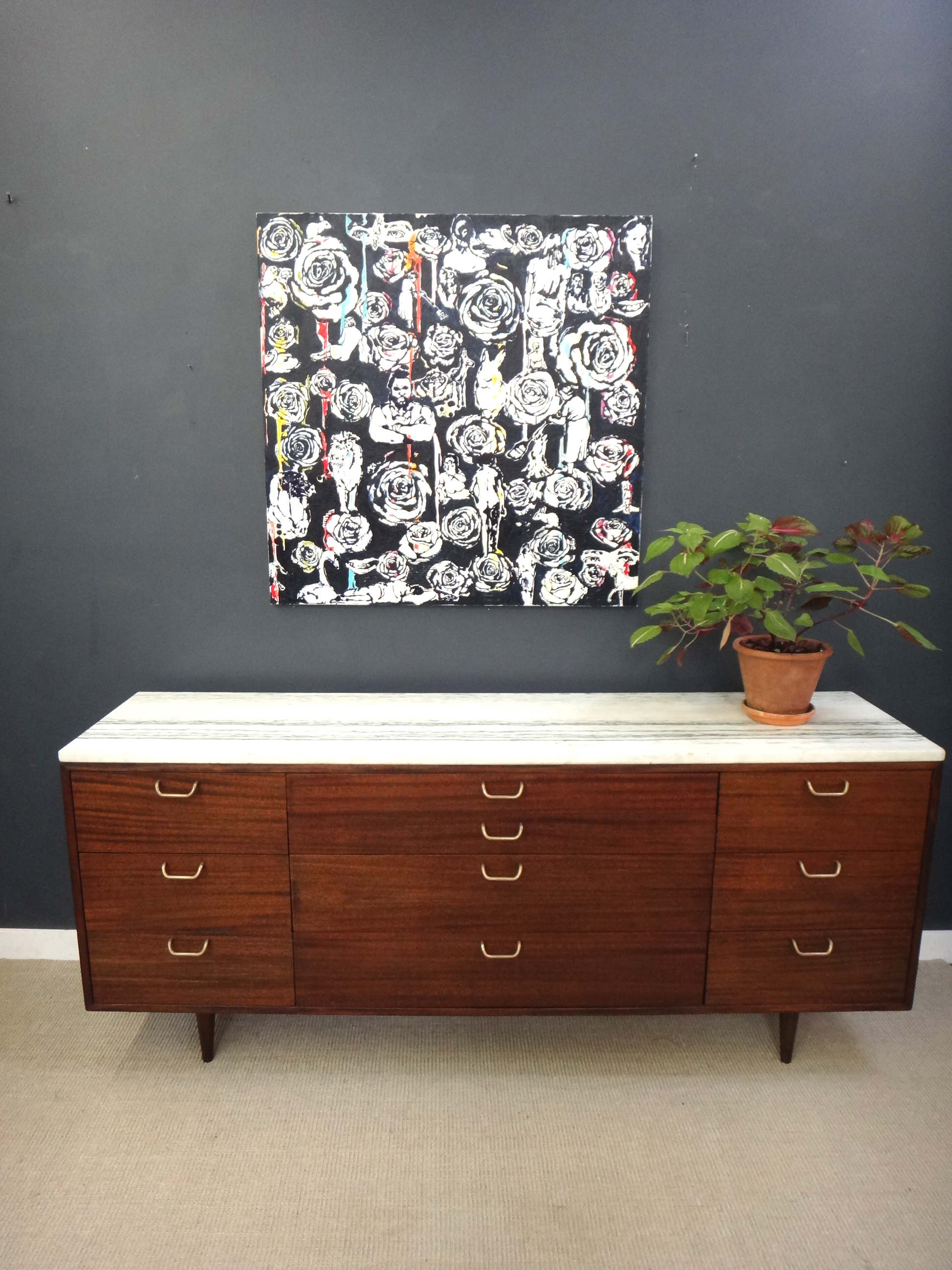 Marble Topped Mid Century Probber Bureau