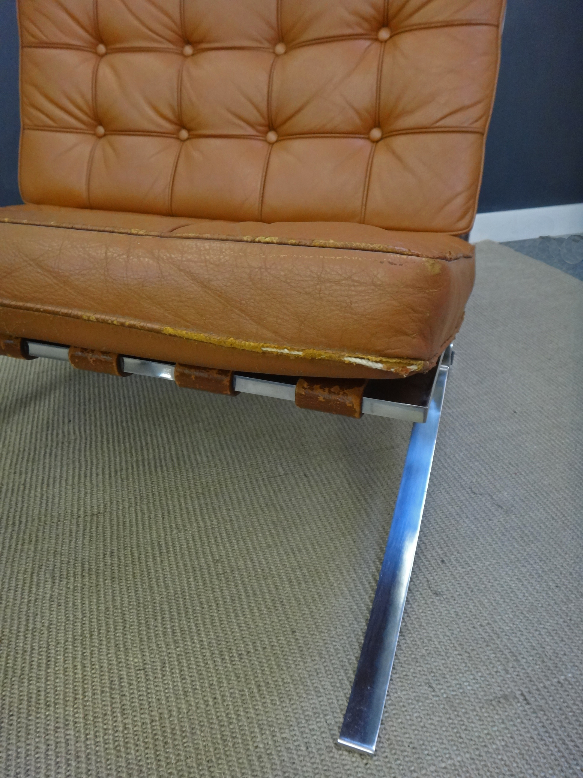 Mid Century Leather Barcelona Chair with Ottoman