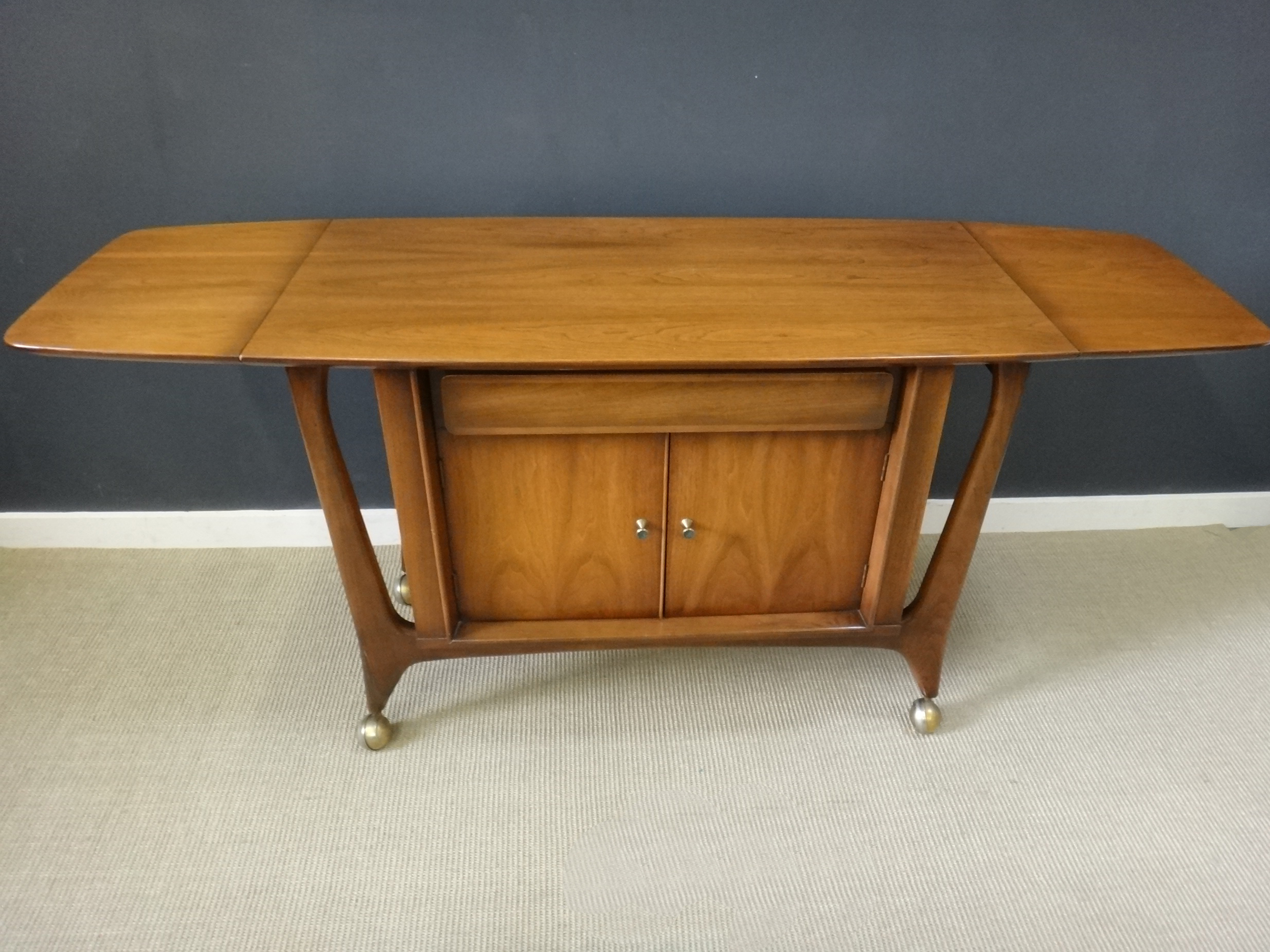 Mid Century Rolling Wood Bar