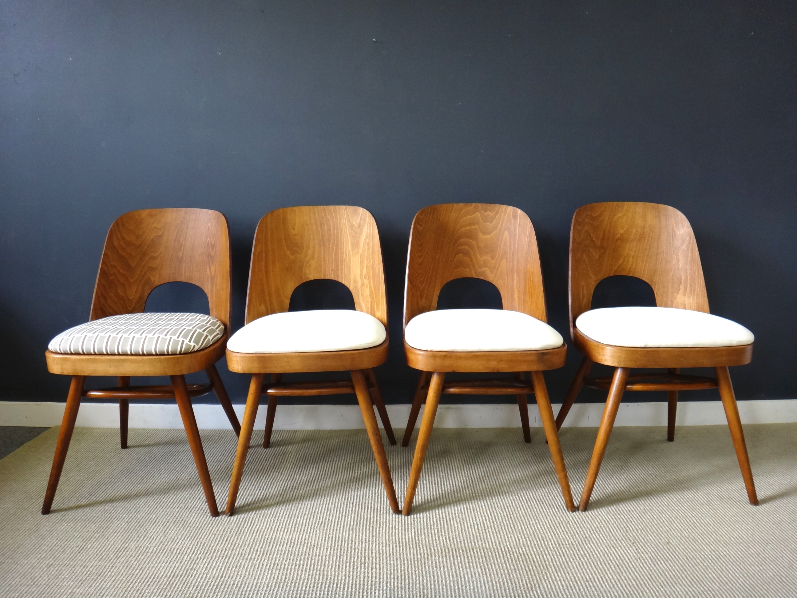 Set of Rare Molded Plywood Back Dining Chairs
