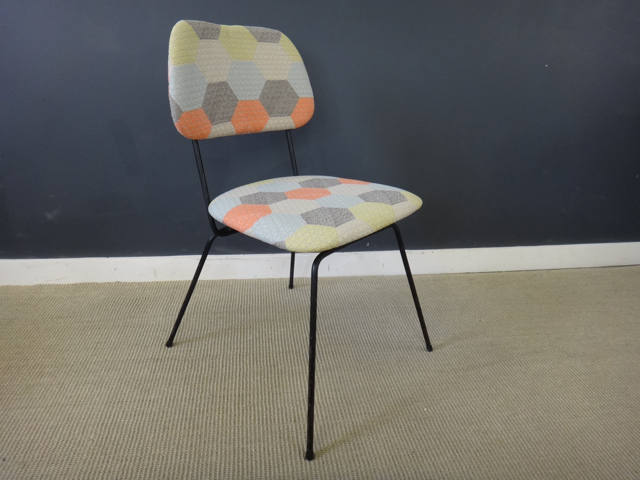 Newy Upholstered Mid Century Black Metal Dining Chairs