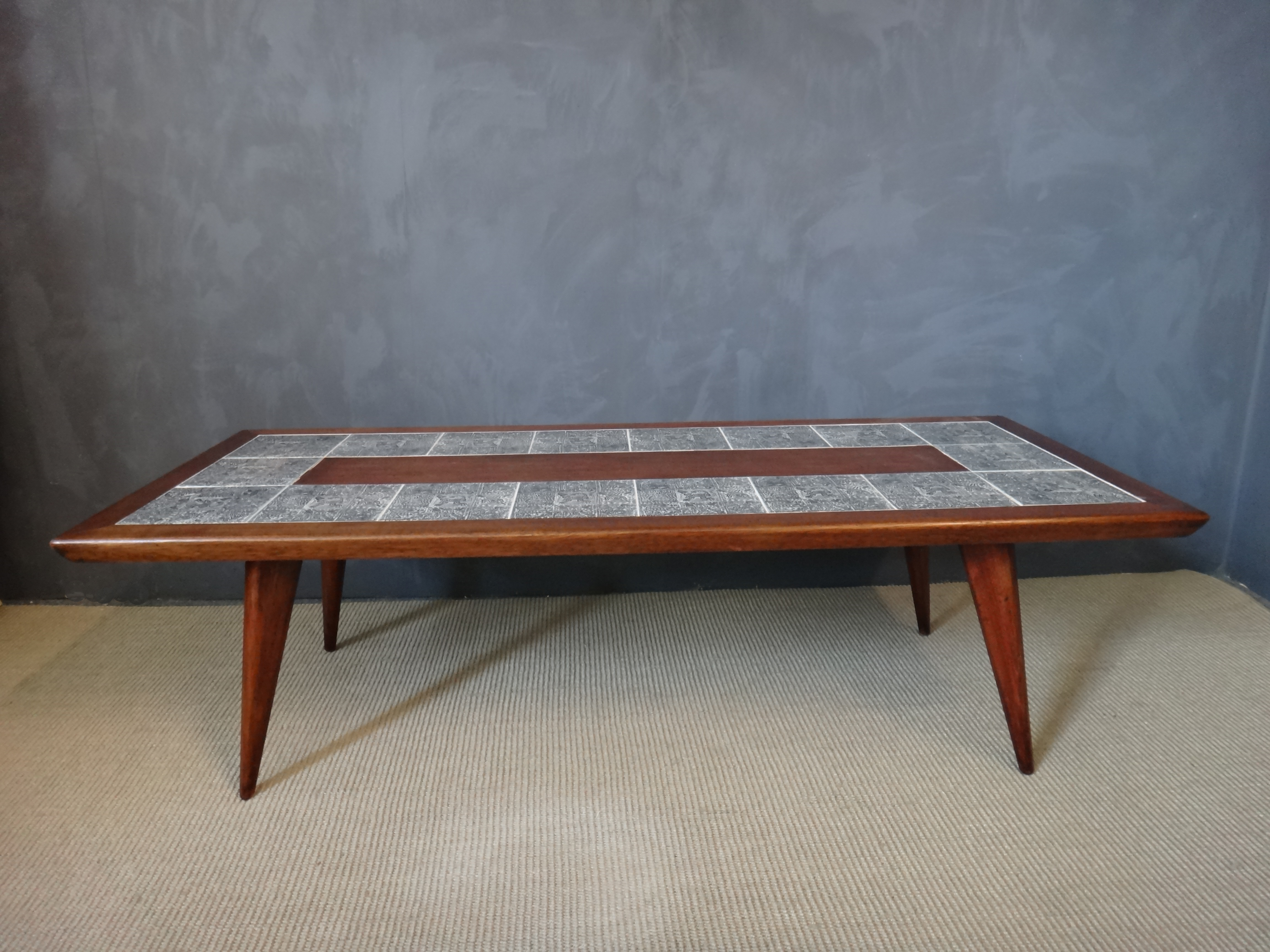 Mahogany Coffee Table with Aztec Pattern Tiles