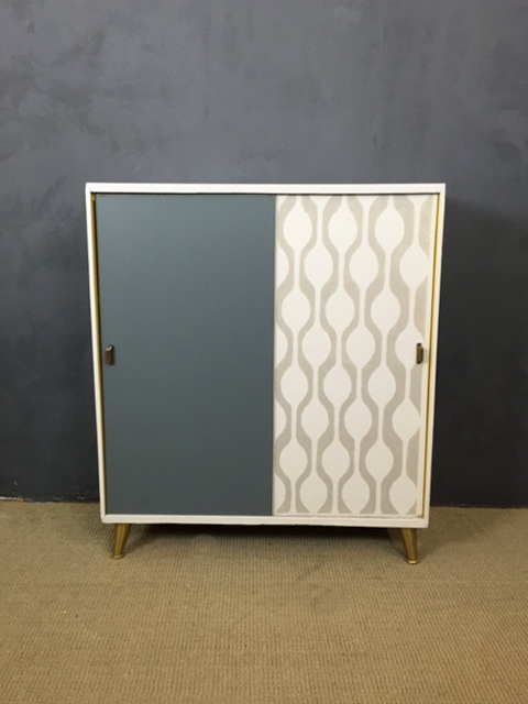 Stenciled Sliding Door Cabinet