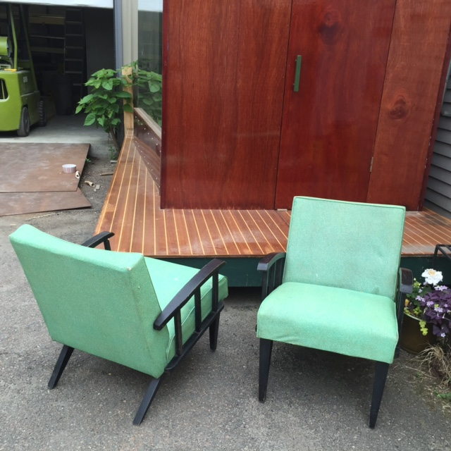 Pair Vinyl Mid Century Accent Chairs