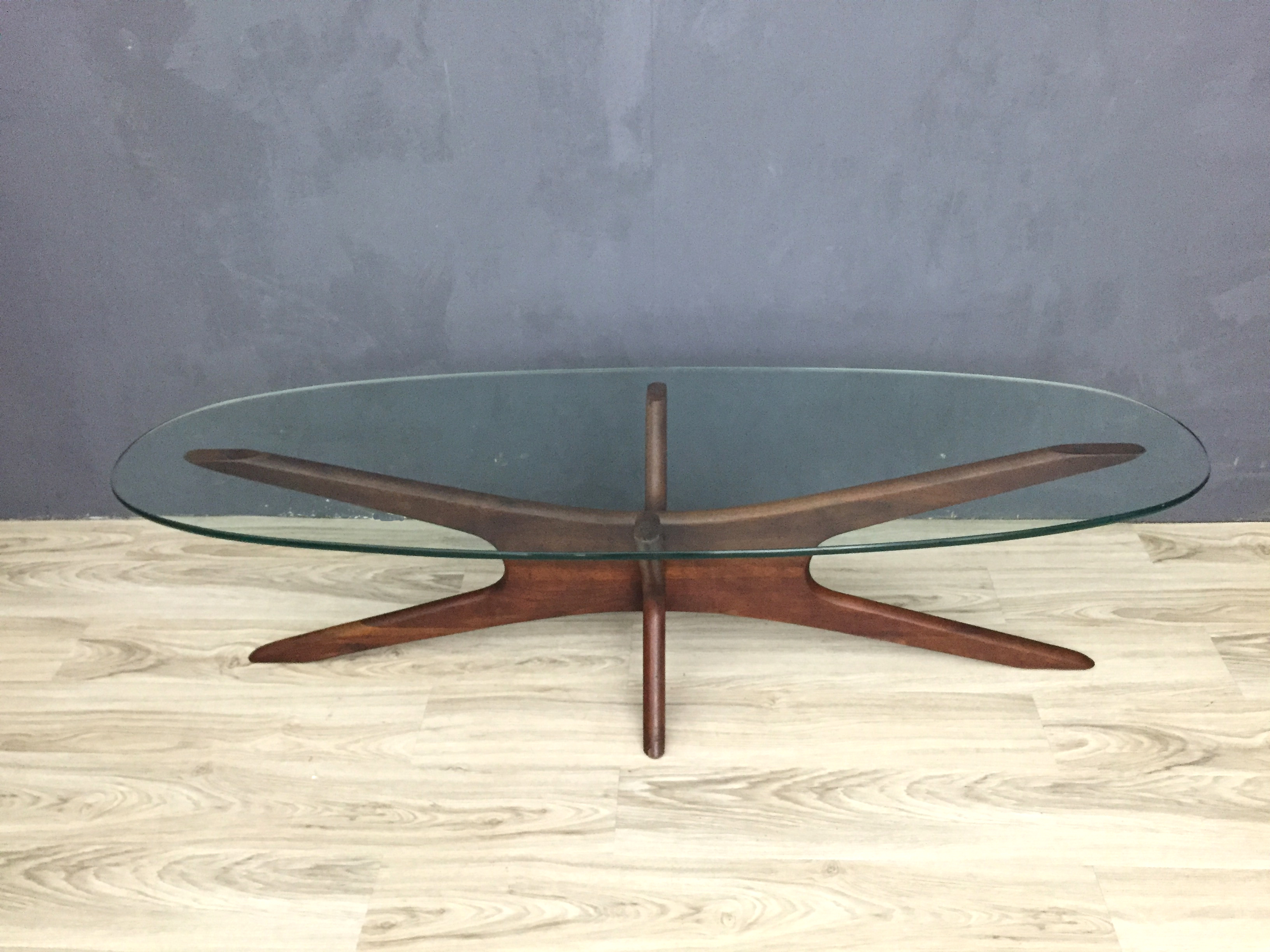 Adrian Pearsall Jacks Walnut And Glass Coffee Table Retrocraft Design Collection Tables
