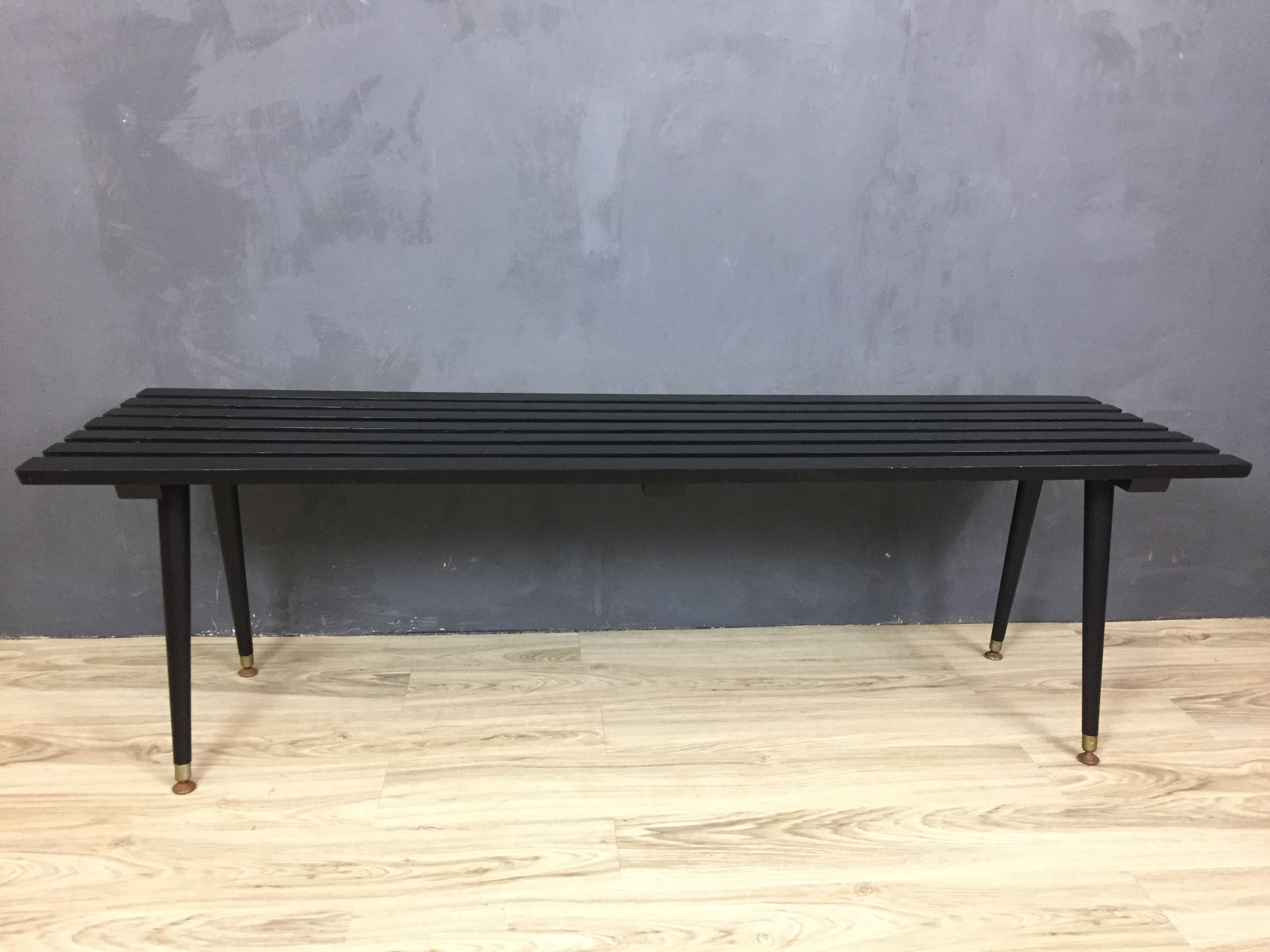 Black Slatted Bench