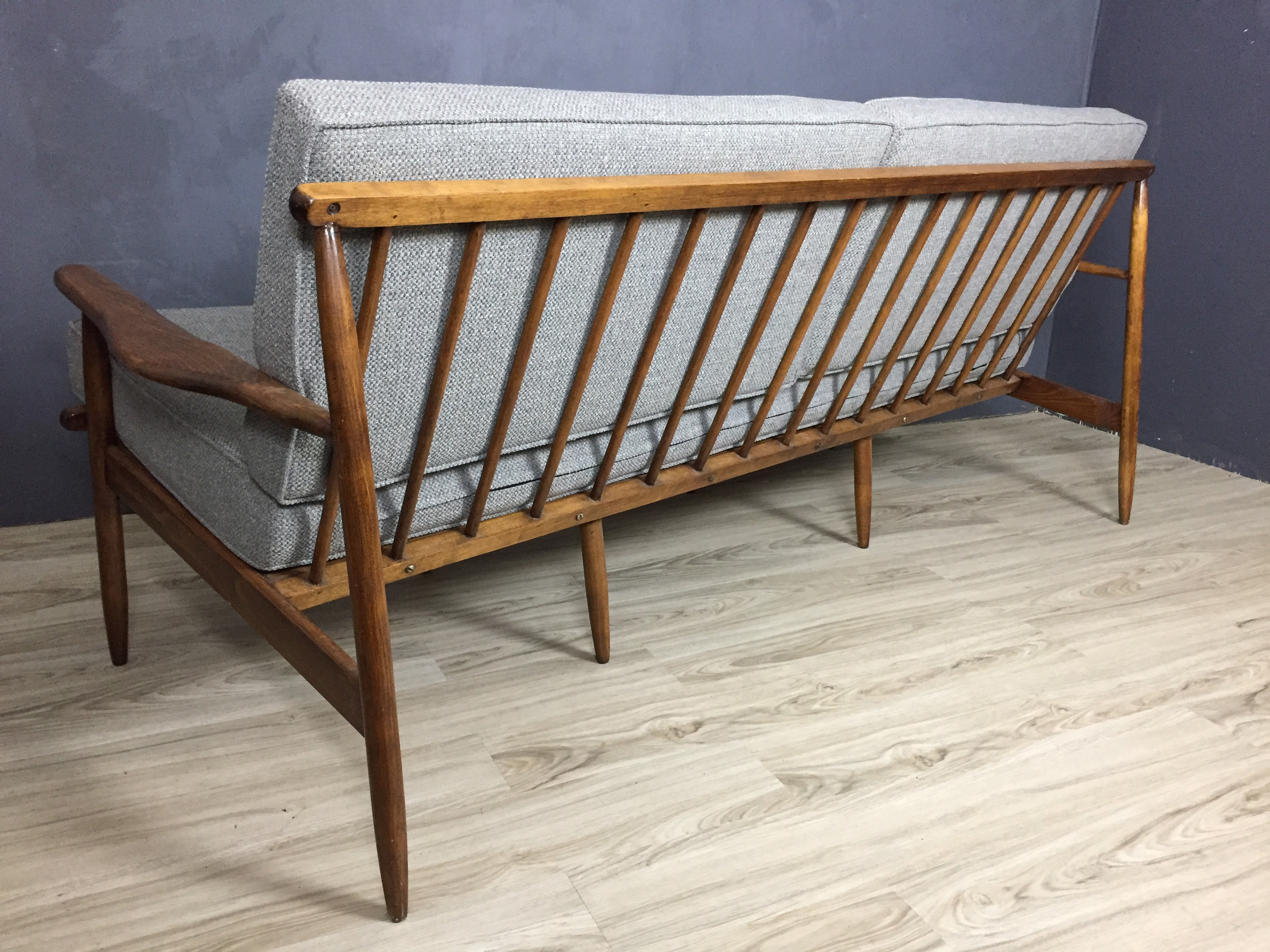 SALE - Mid Century Wood Frame Couch in Grey Upholstery