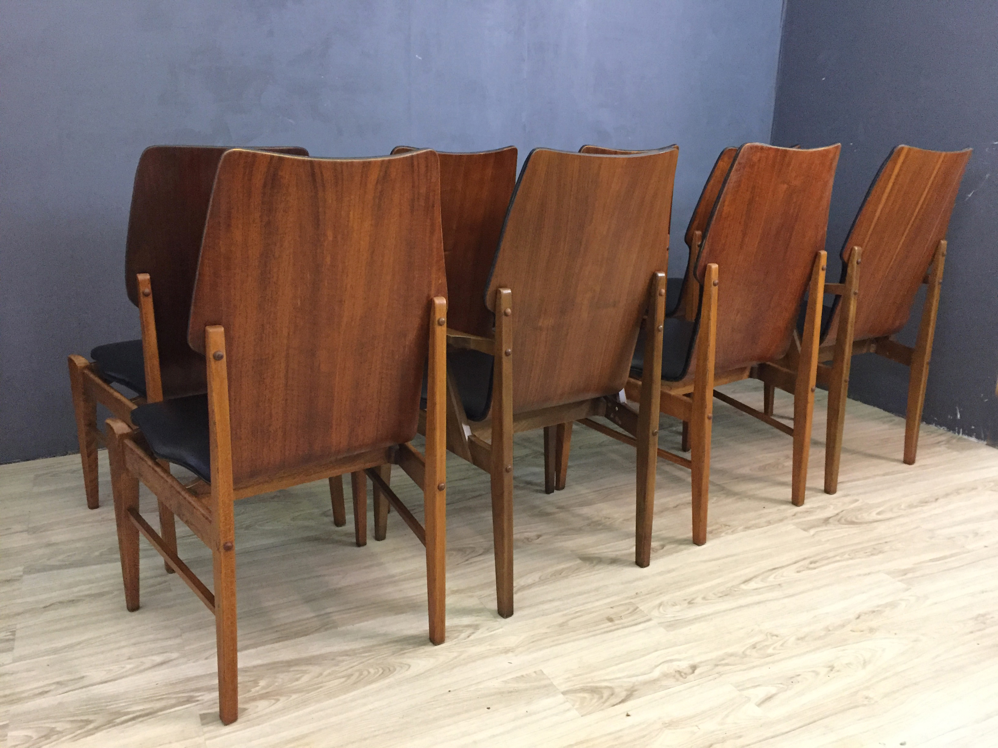 Lane Walnut and Black Vinyl Dining Chairs