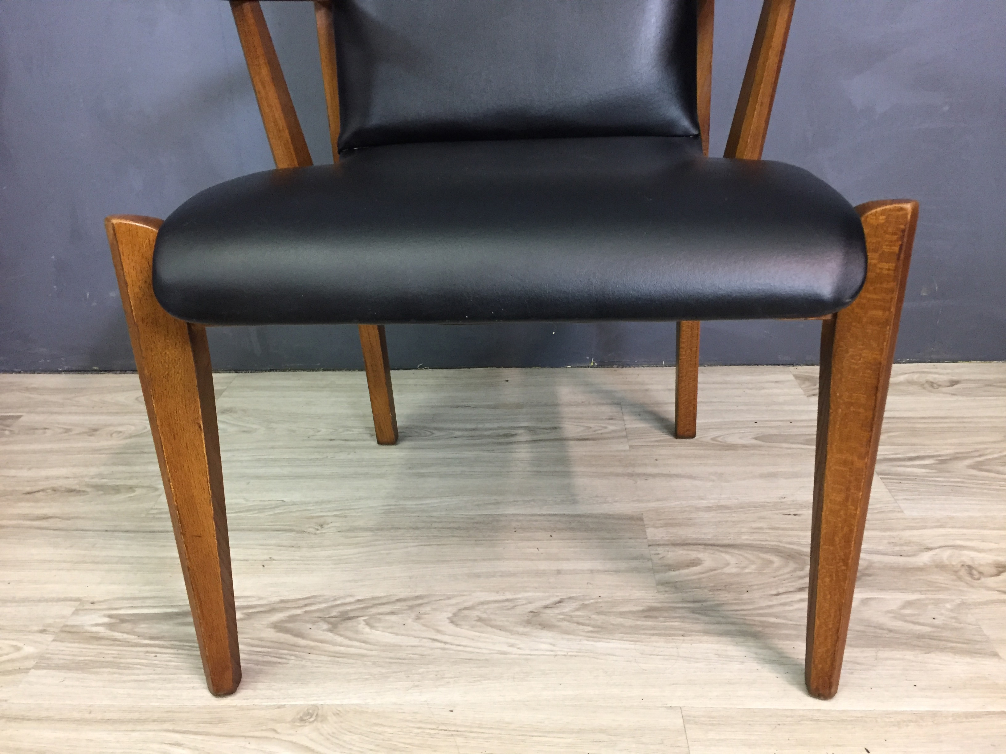 Lane Walnut And Black Vinyl High Back Dining Chairs