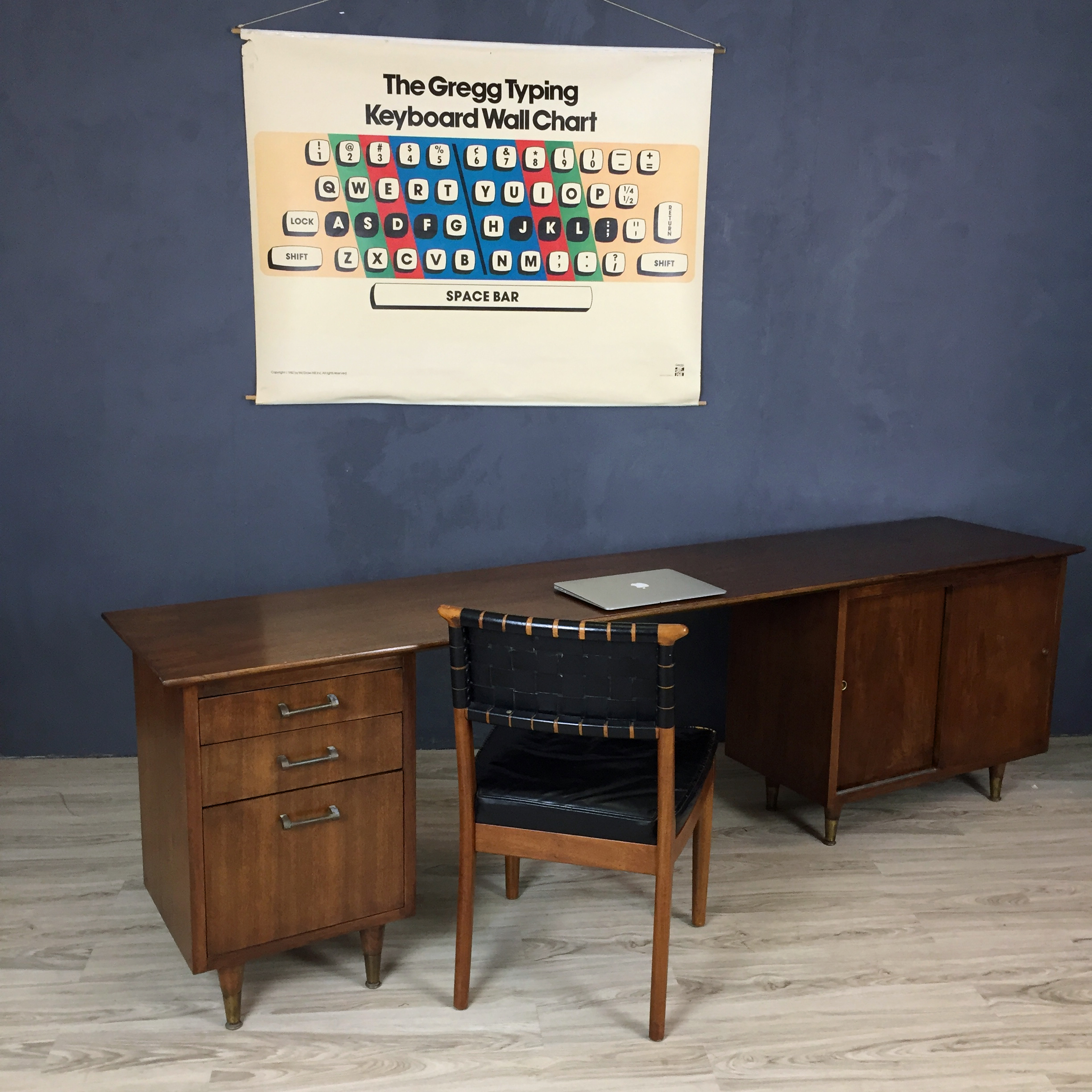 Mid Century Modern Walnut Office Console