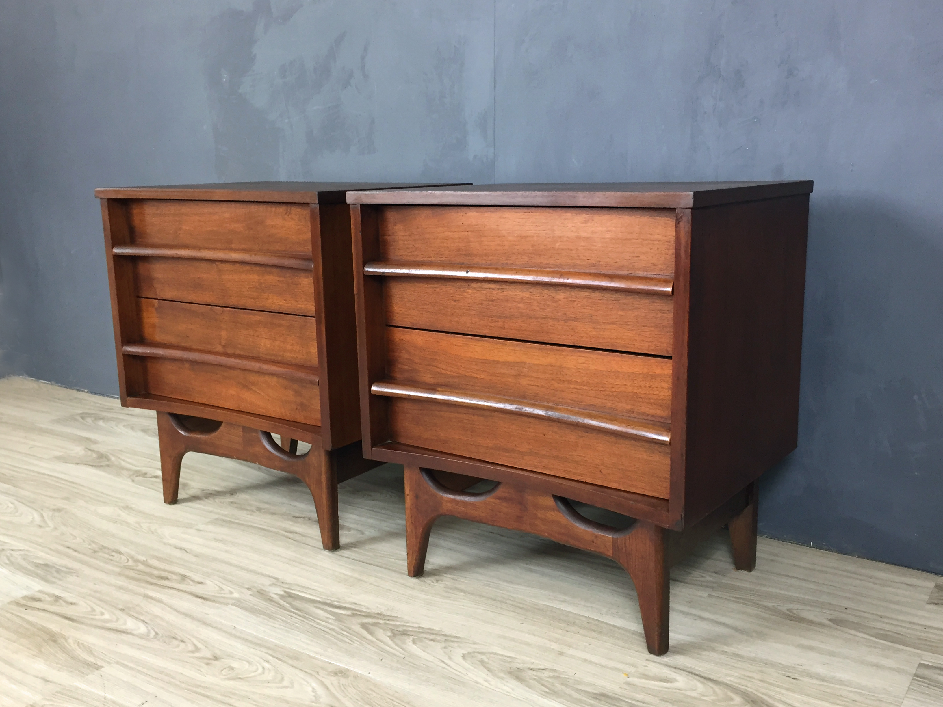 Pair Mid Century Walnut Bedside Tables