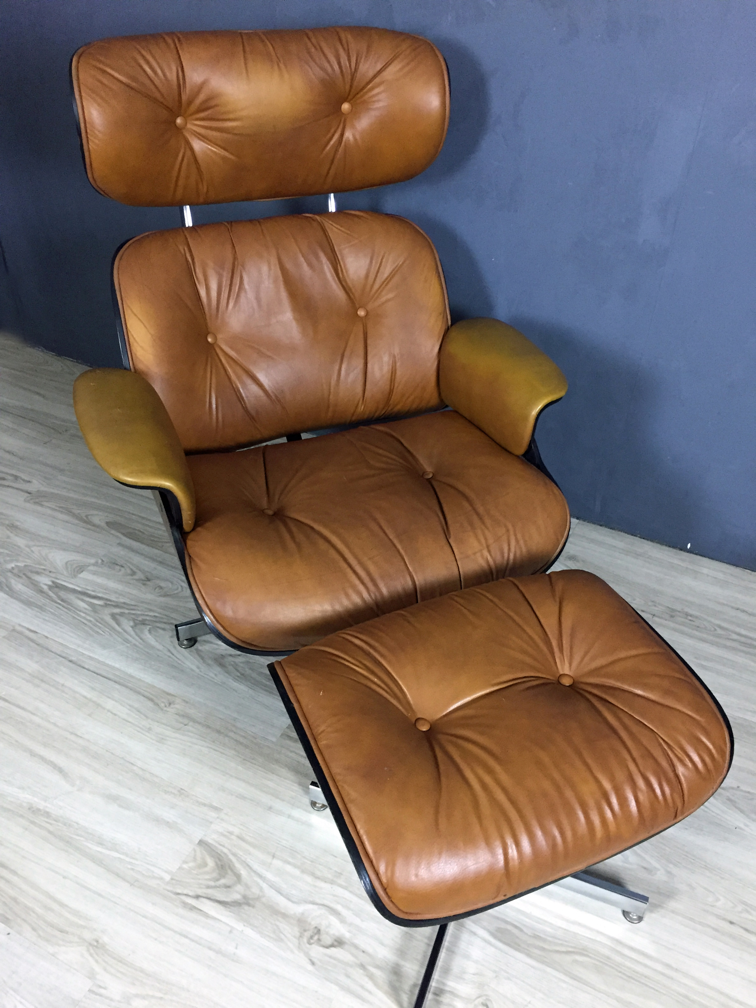 Eames Style Walnut Plycraft Chair and Ottoman