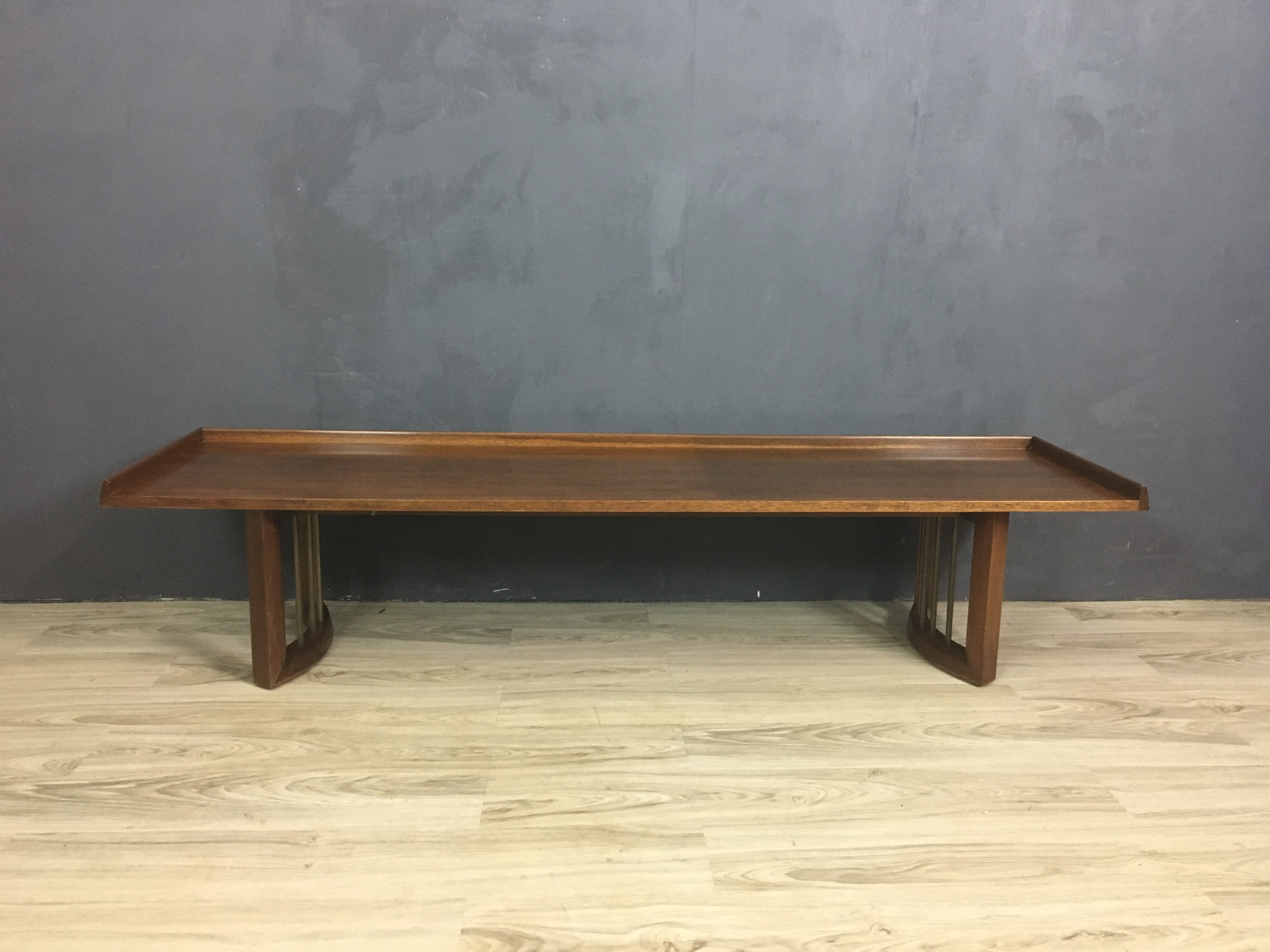 Mid Century Bench with Upholstered Cushion
