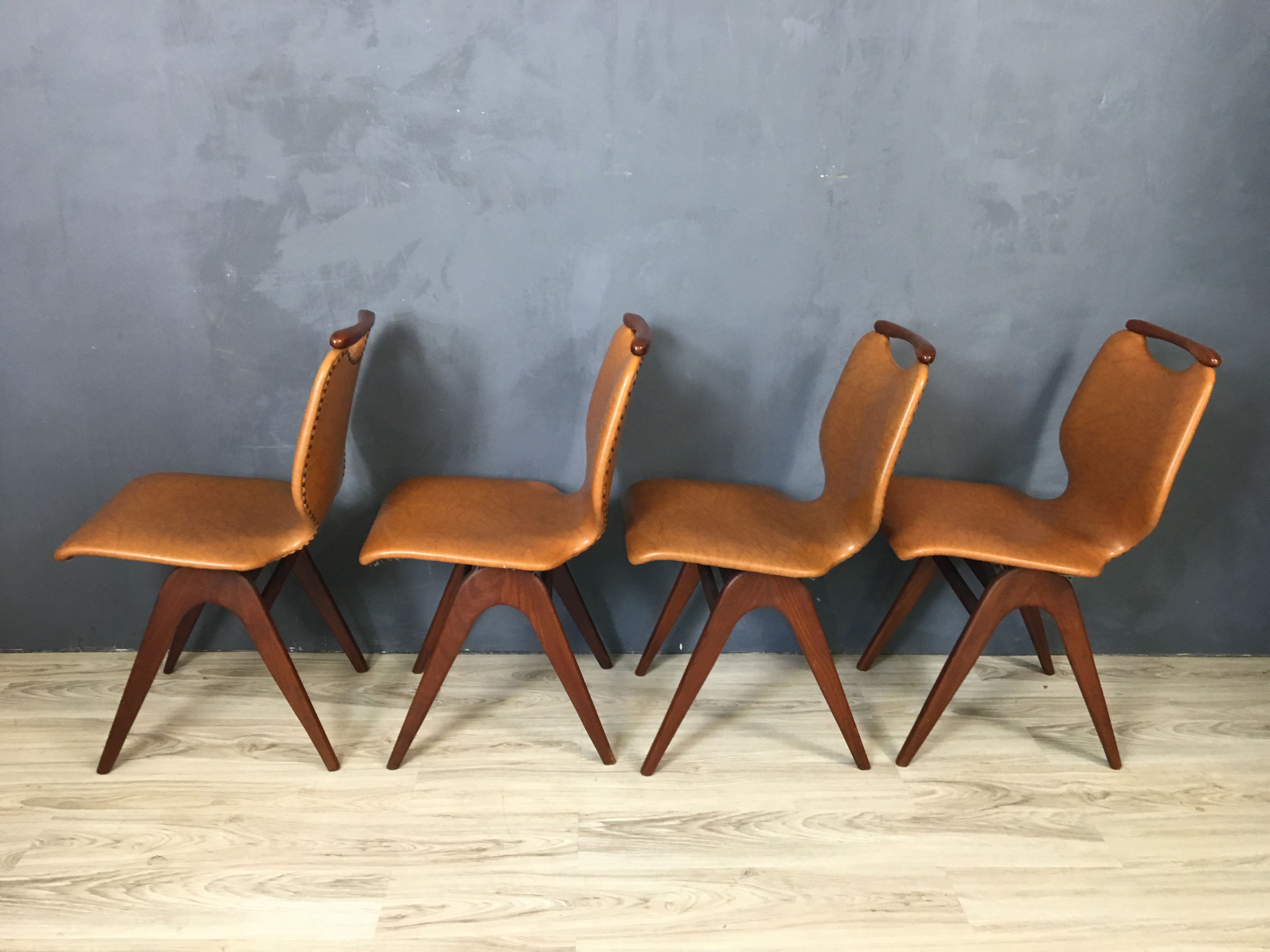 Dutch Mid Century Teak and Vinyl Dining Chairs