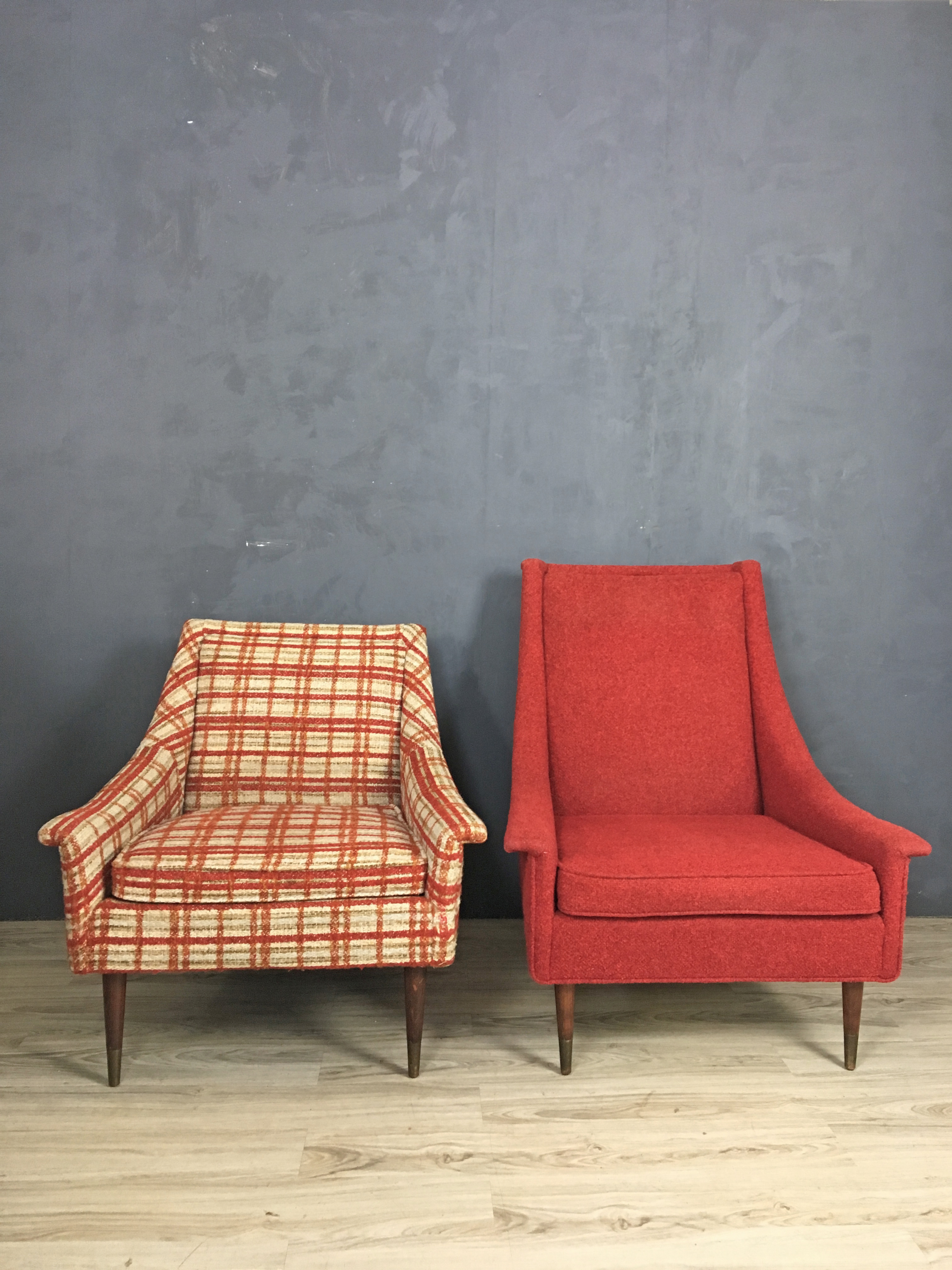 Pair of Mid Century Mr. and Mrs. Upholstered Chairs