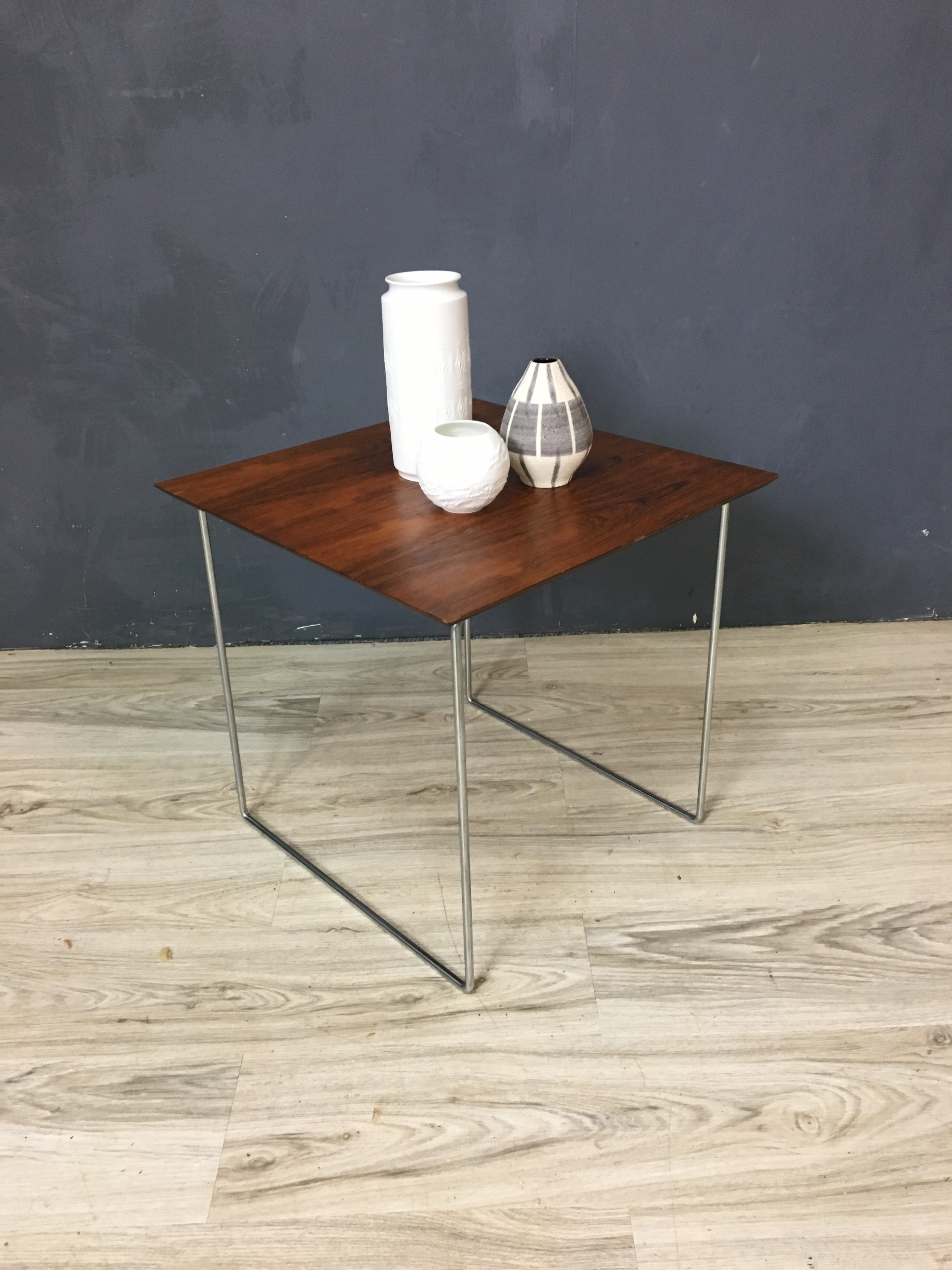 Rosewood and Chrome Side Table