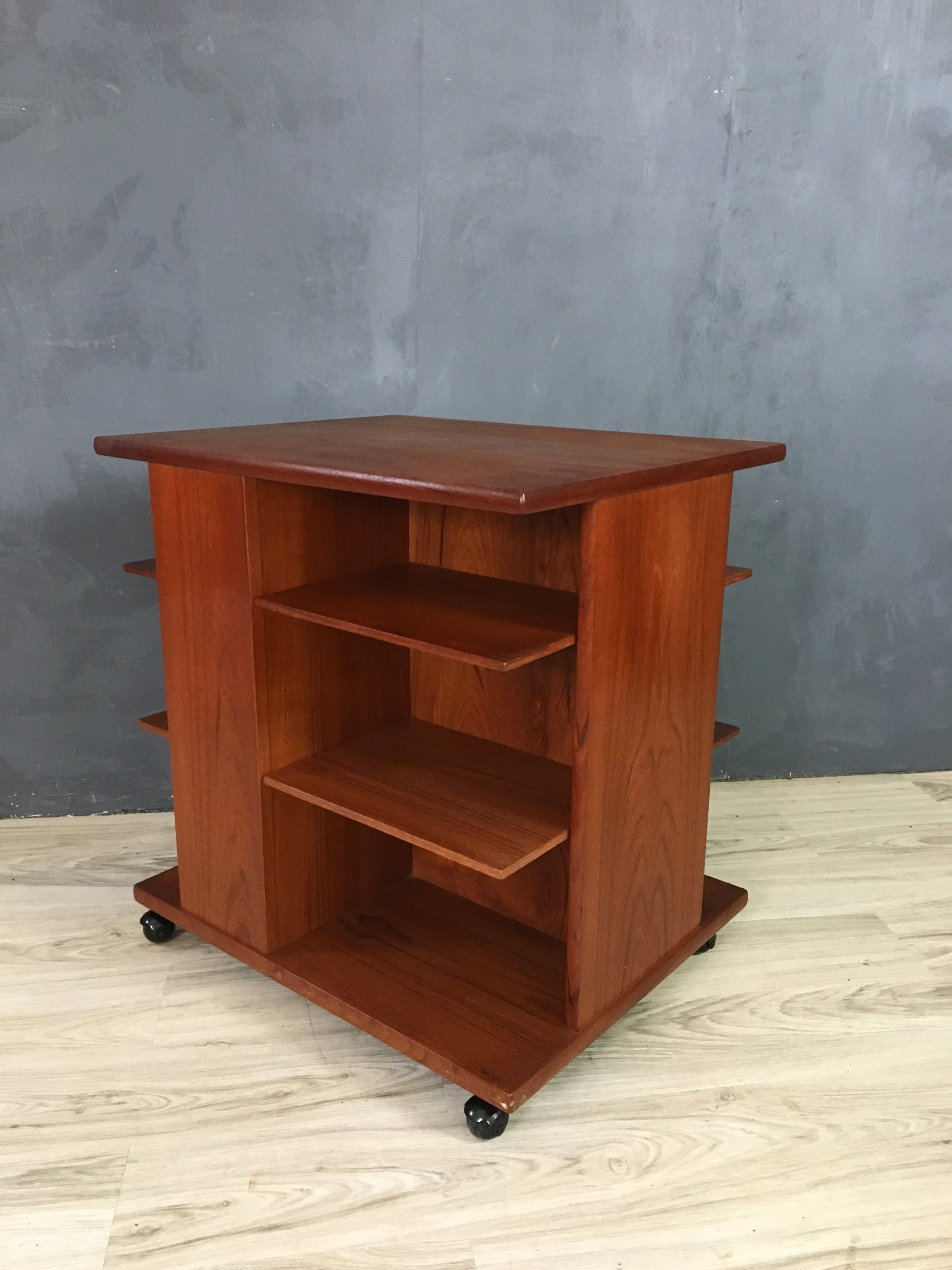 Danish Modern Teak Magazine Stand/Side Table by Jensen Odense