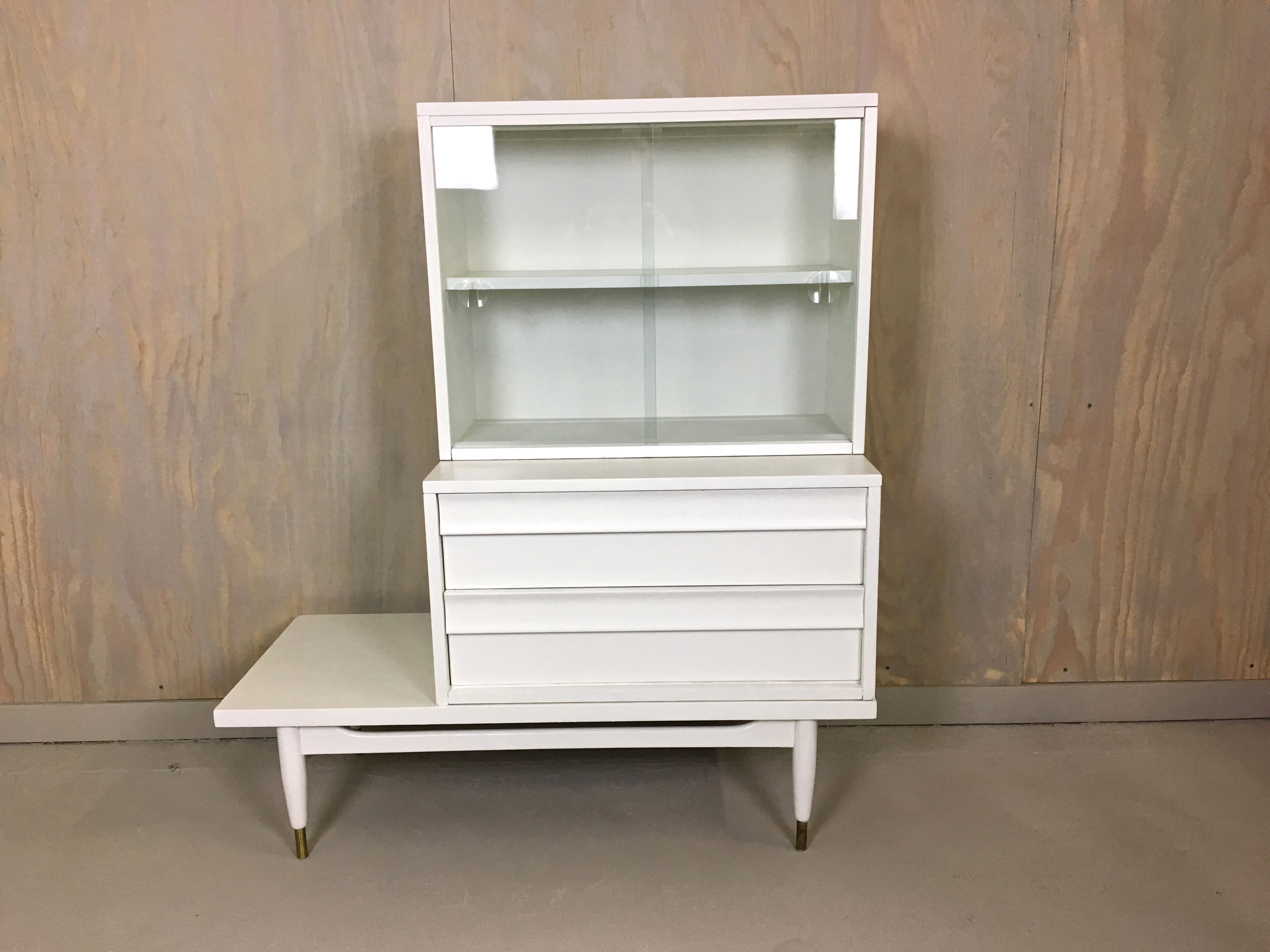 Painted Three-Piece Display Cabinet with Drawers