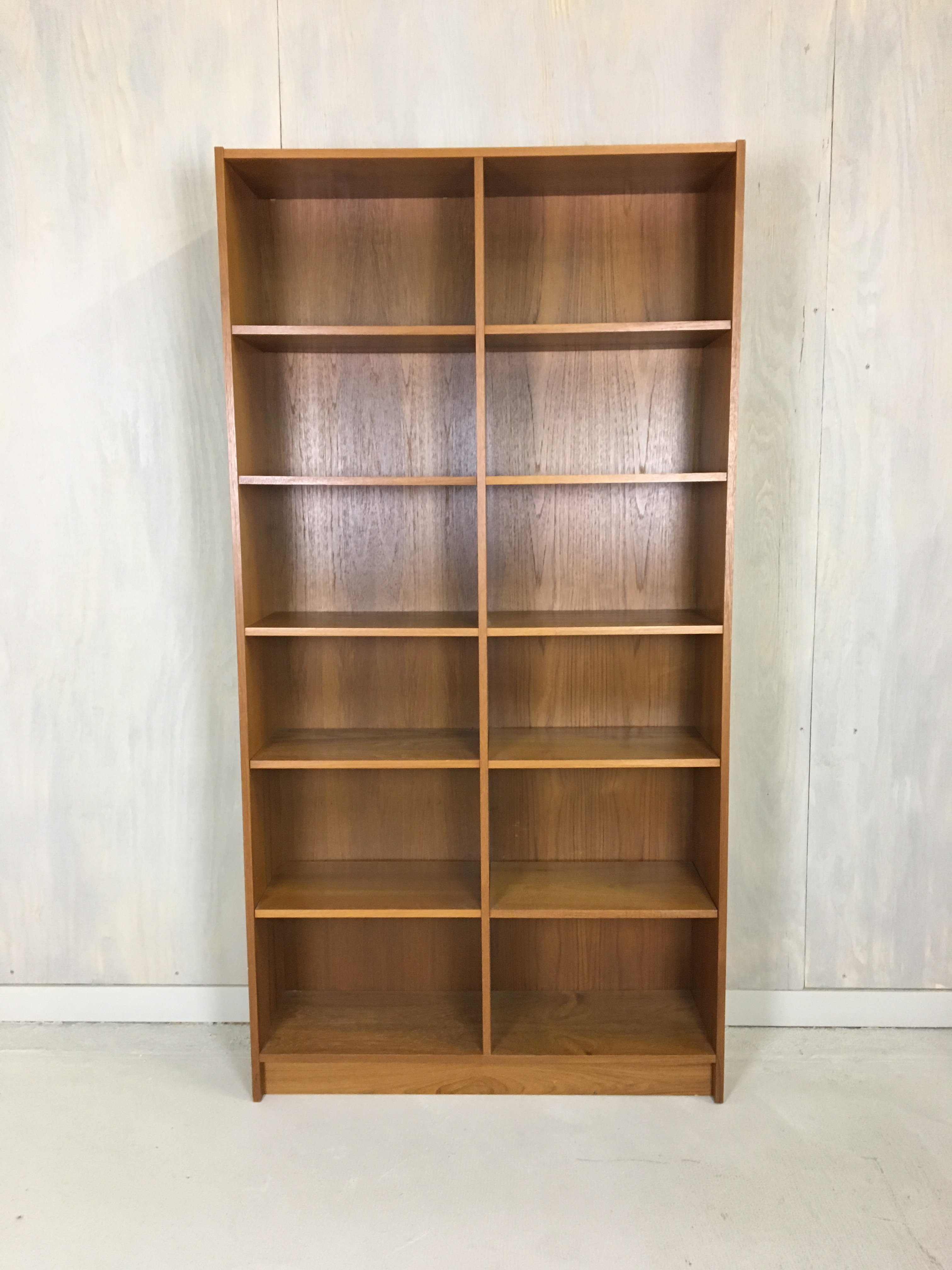 Danish Modern Teak Double Bookcase