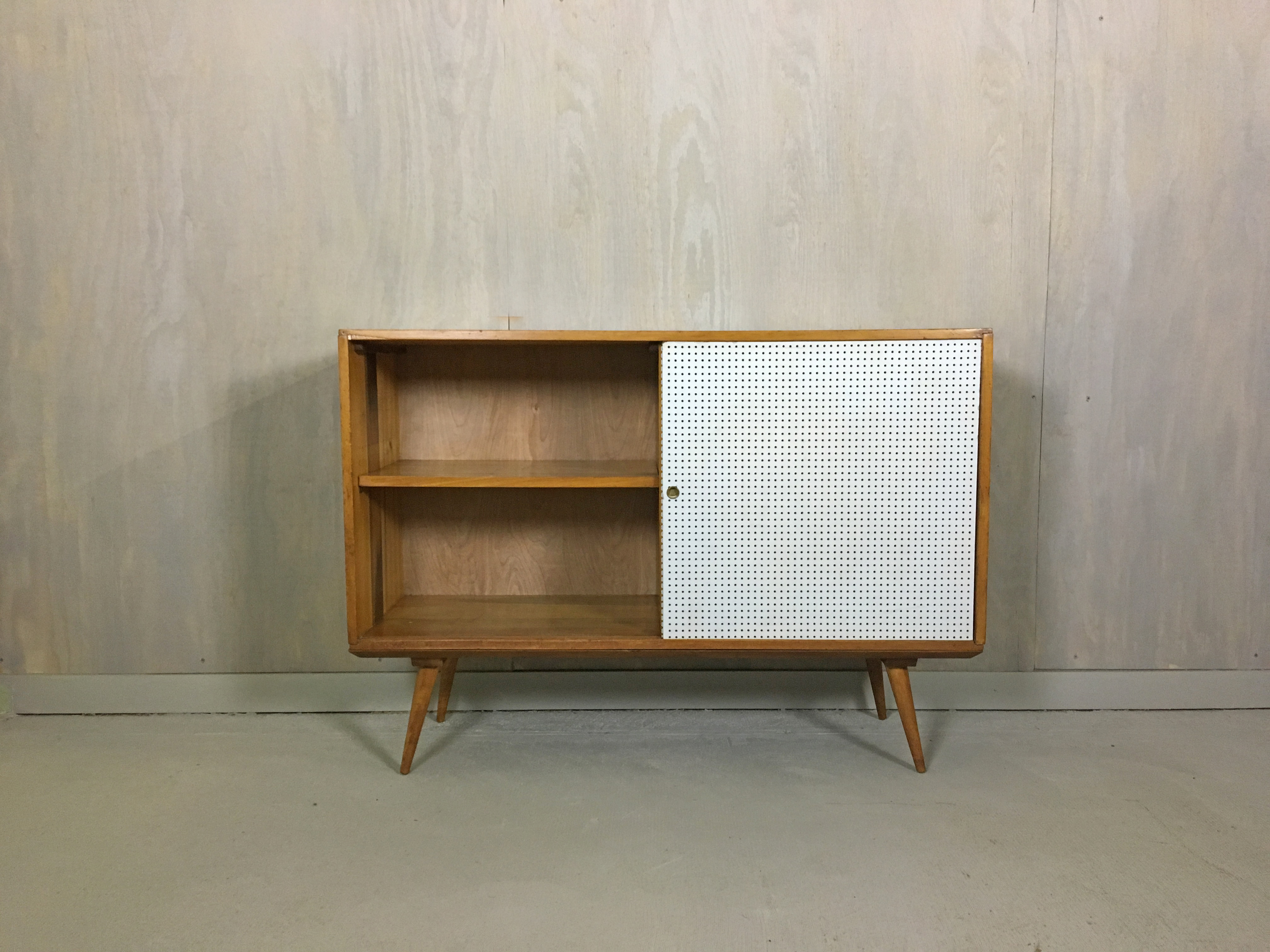 Paul McCobb Style Sliding Door Cabinet with Base