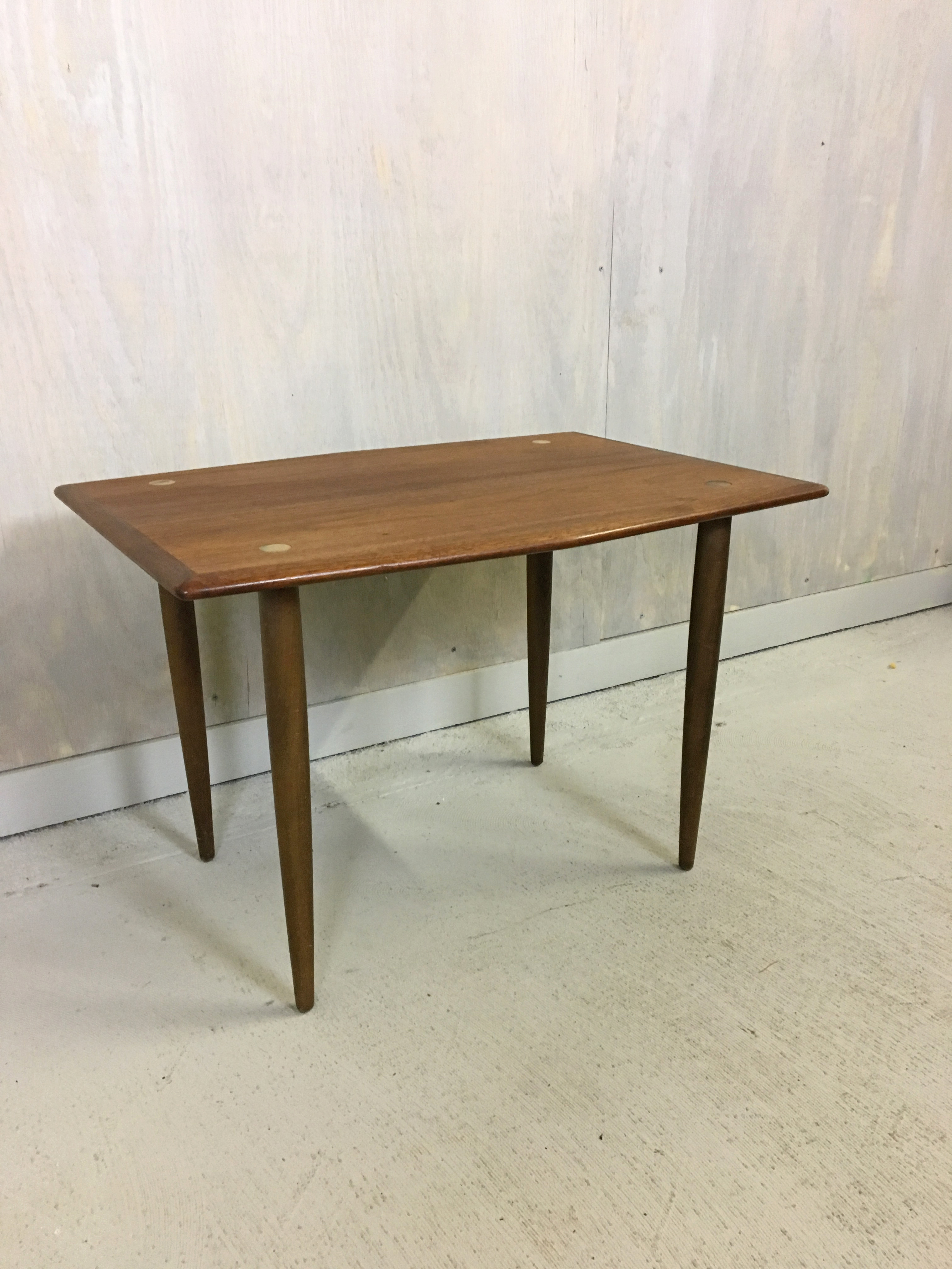 SALE - Dux of Sweden Teak Side Table with Brass Accents