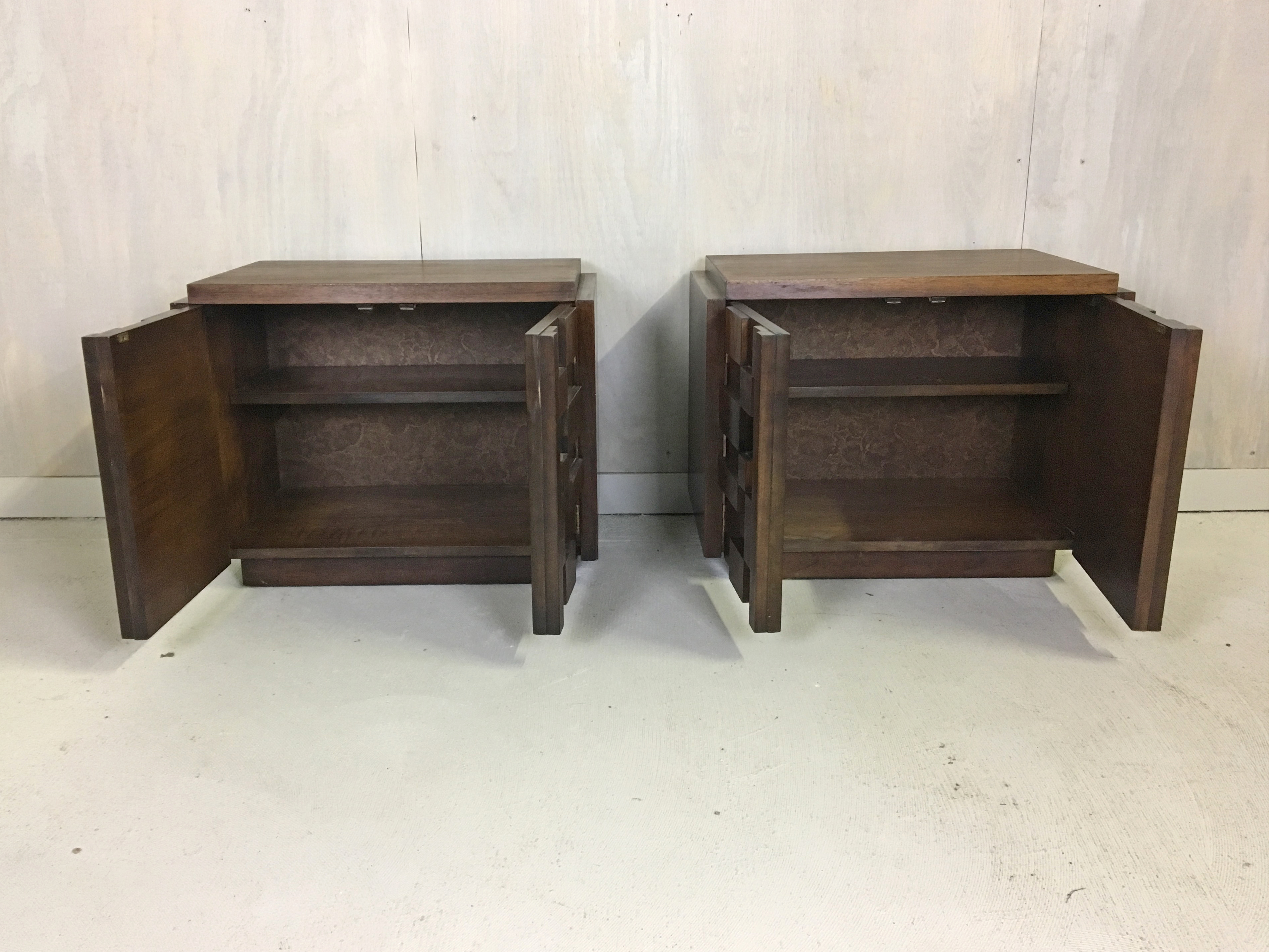 Brutalist Walnut Bedside Tables for Lane