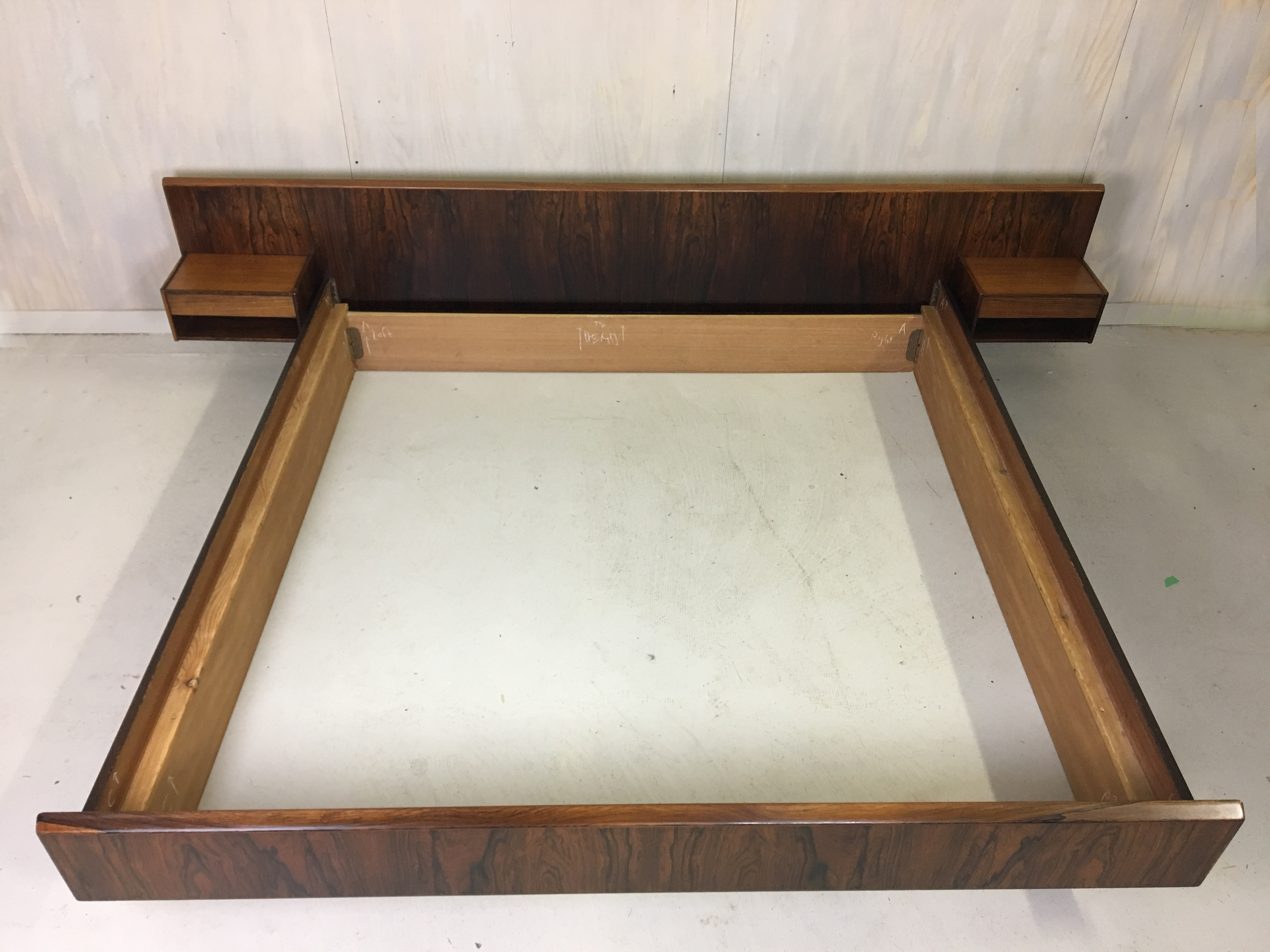Kingsize Rosewood Platform Bed with Floating Nightstands