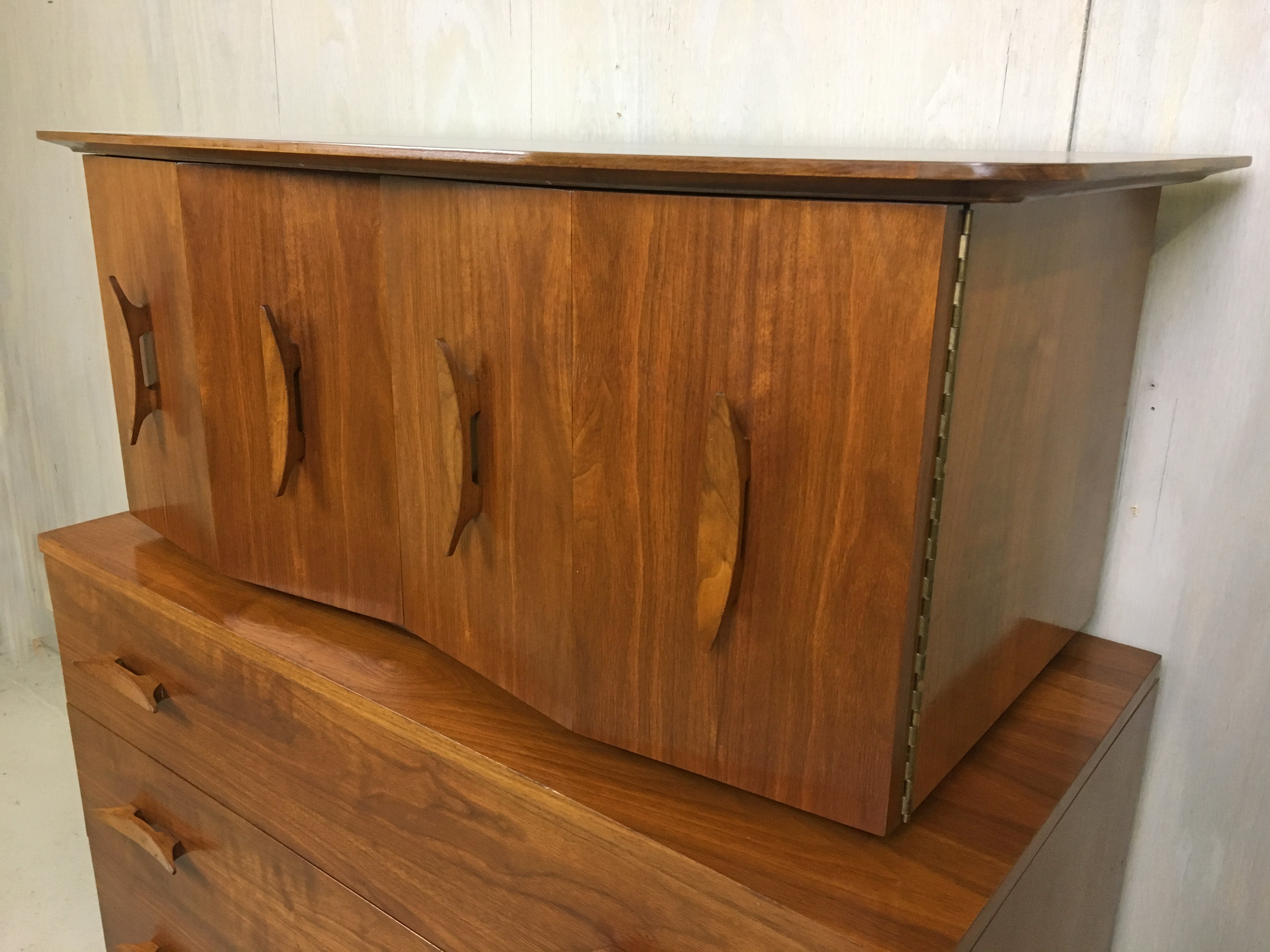 Mid Century Walnut Highboy with Nautical Cleat Pulls