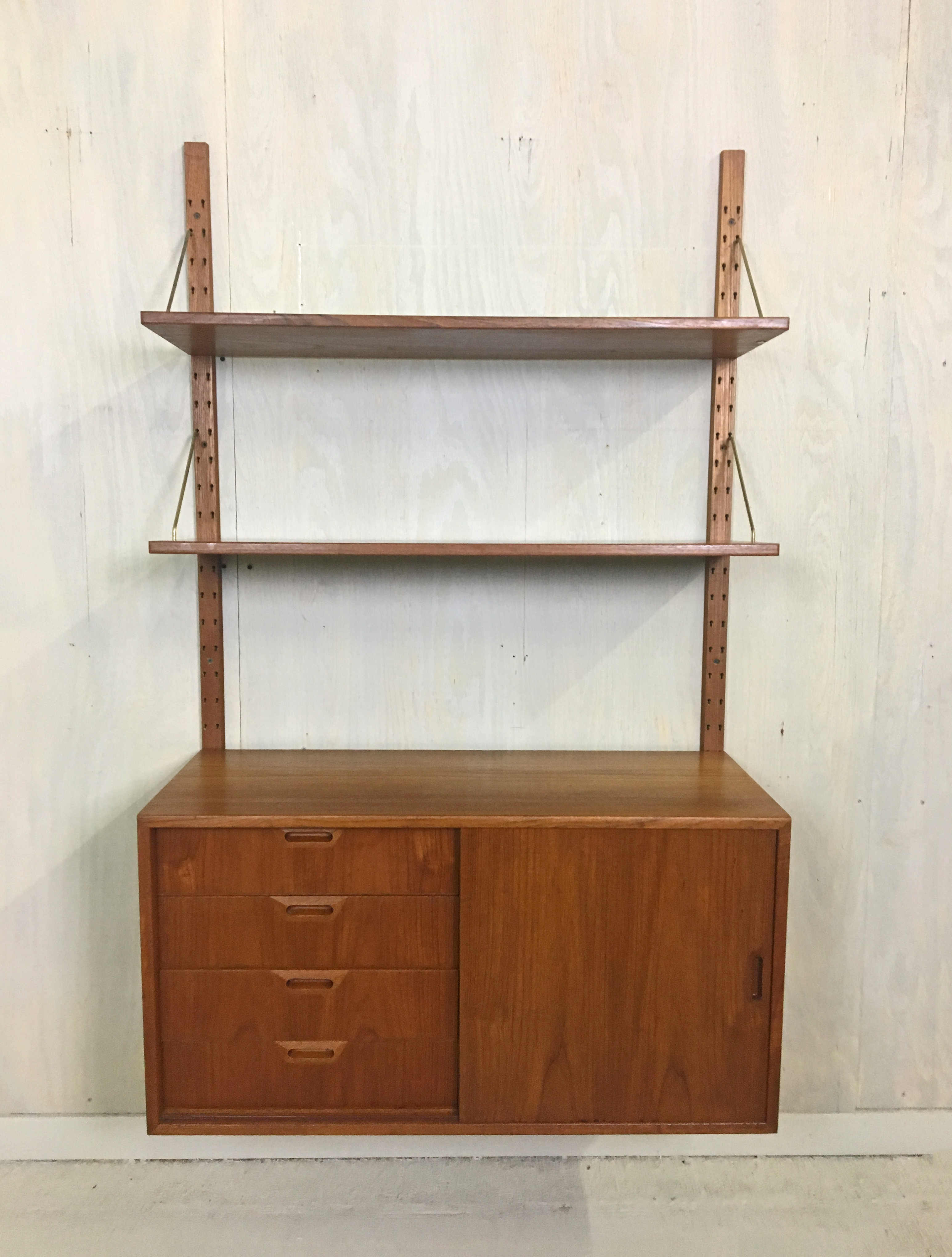 Teak Wall-Mounted Cado Cabinet and Shelving