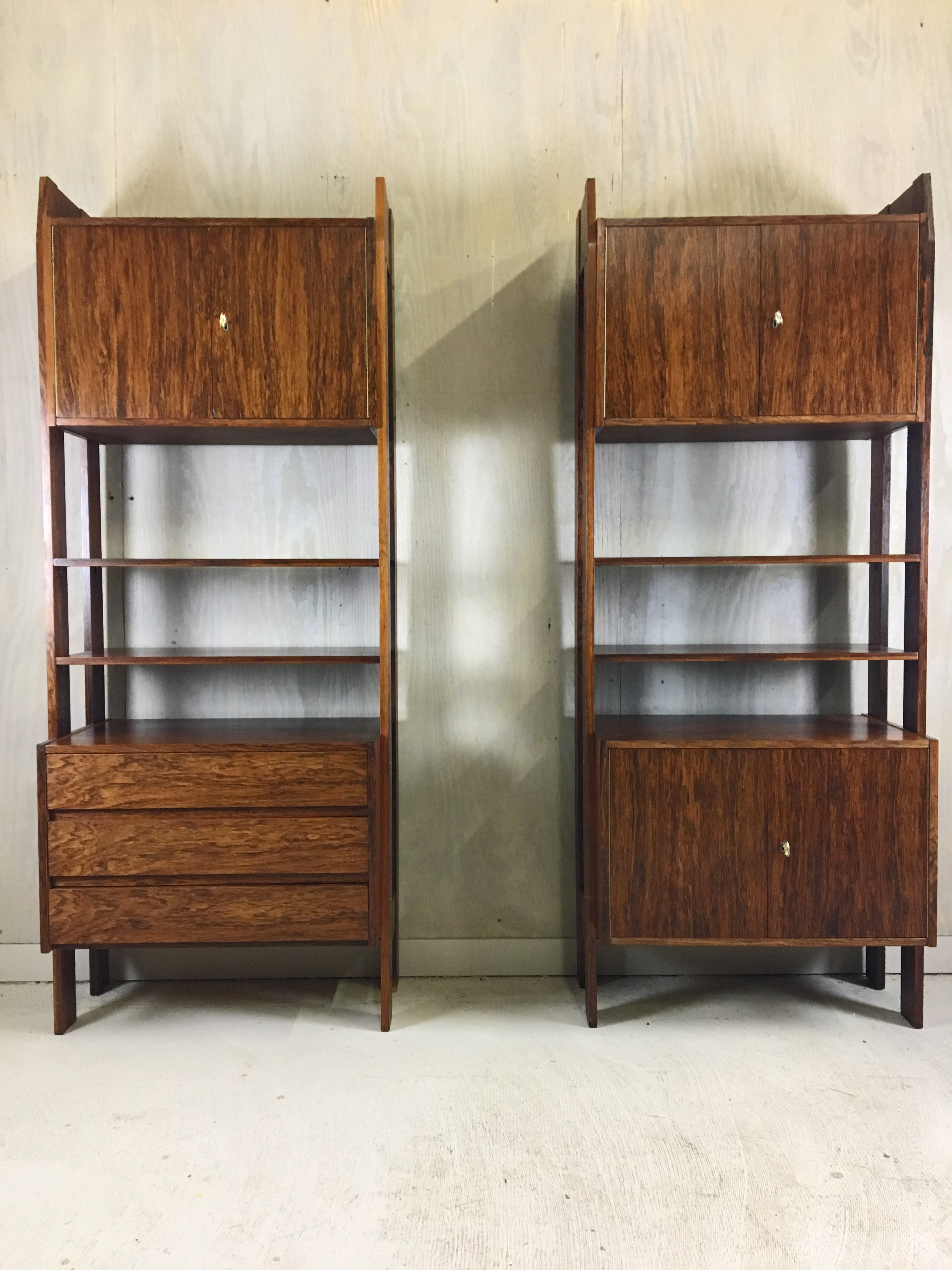 Rosewood Wall Unit with Cabinets and Shelving
